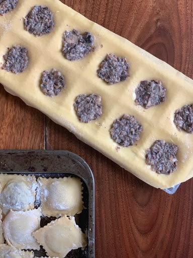 homemade mushroom ravioli