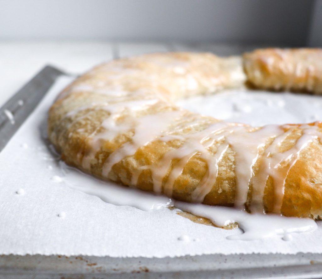 Pecan kringle with glaze