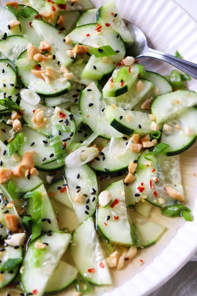 Thai cucumber salad close up