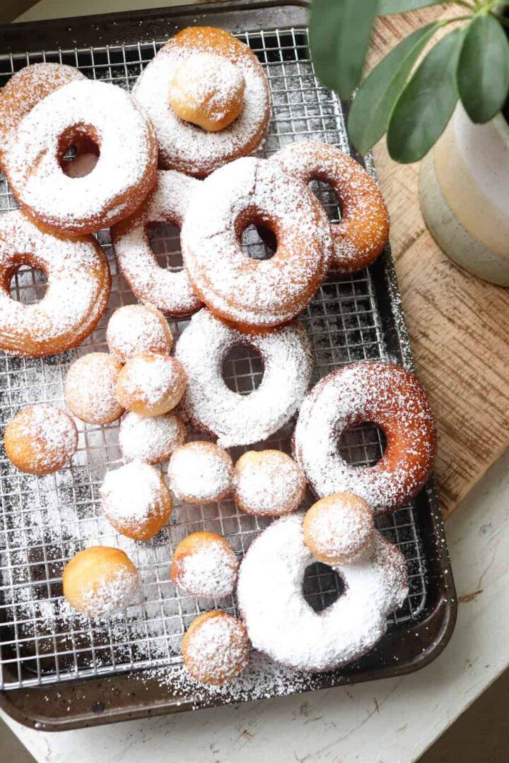 sourdough discard donuts with powdered sugar