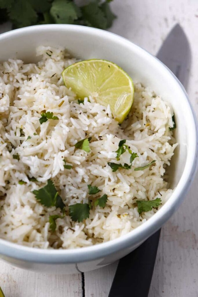 rice topped with cilantro