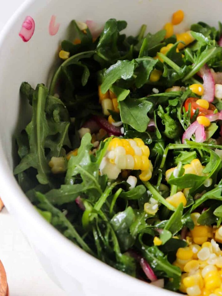 corn arugula salad featured