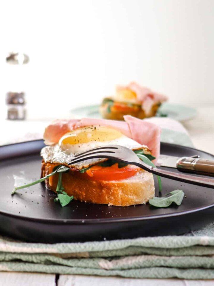 open faced egg sandwich featured