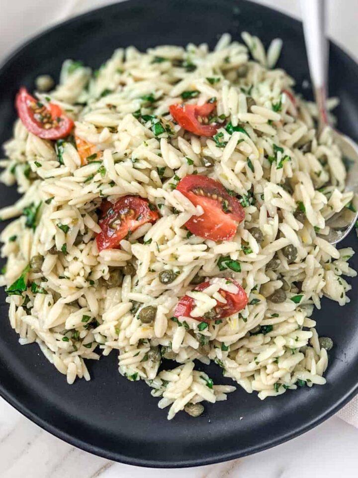 pesto orzo salad featured