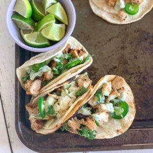 spicy chopped chicken tacos featured