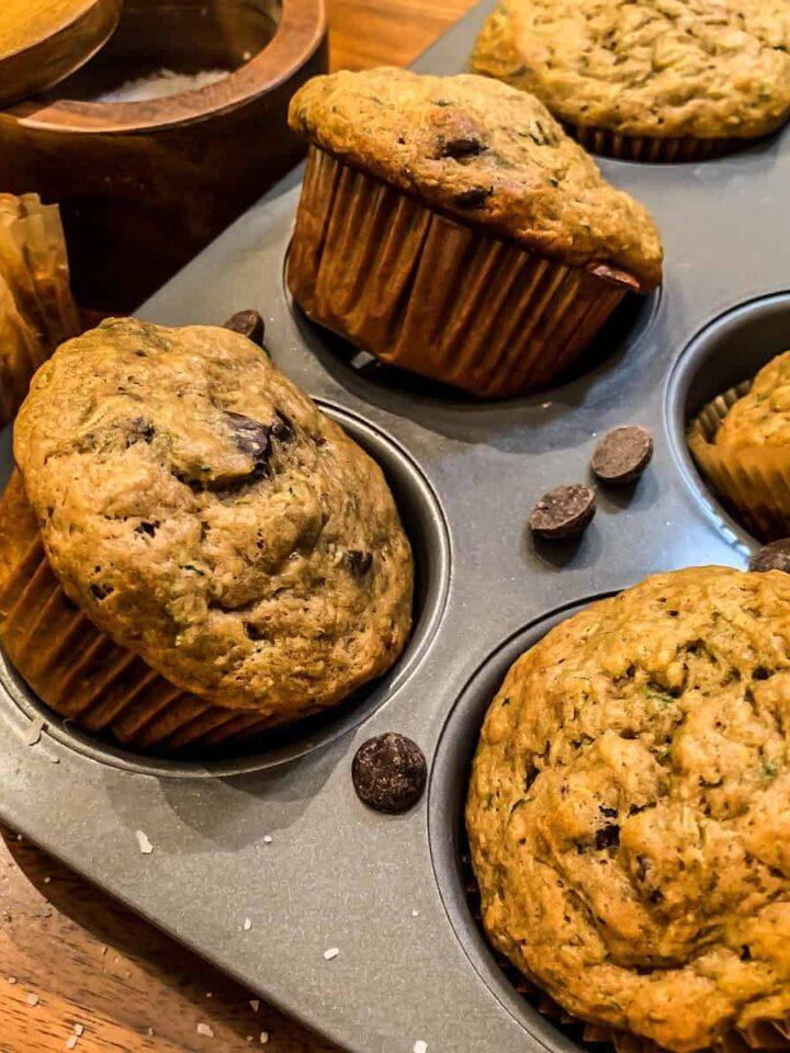 zucchini banana muffins featured