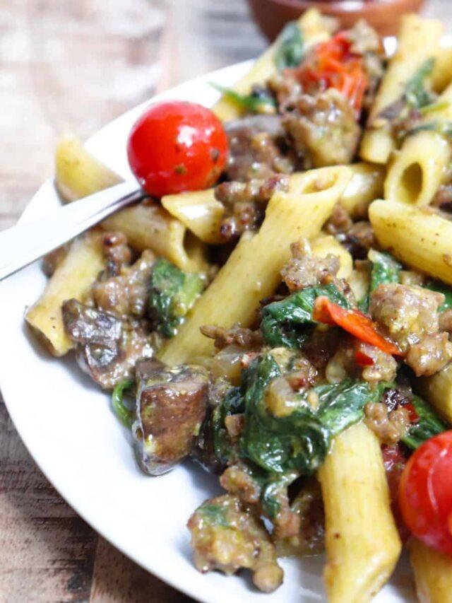 Mushroom and Pesto Pasta