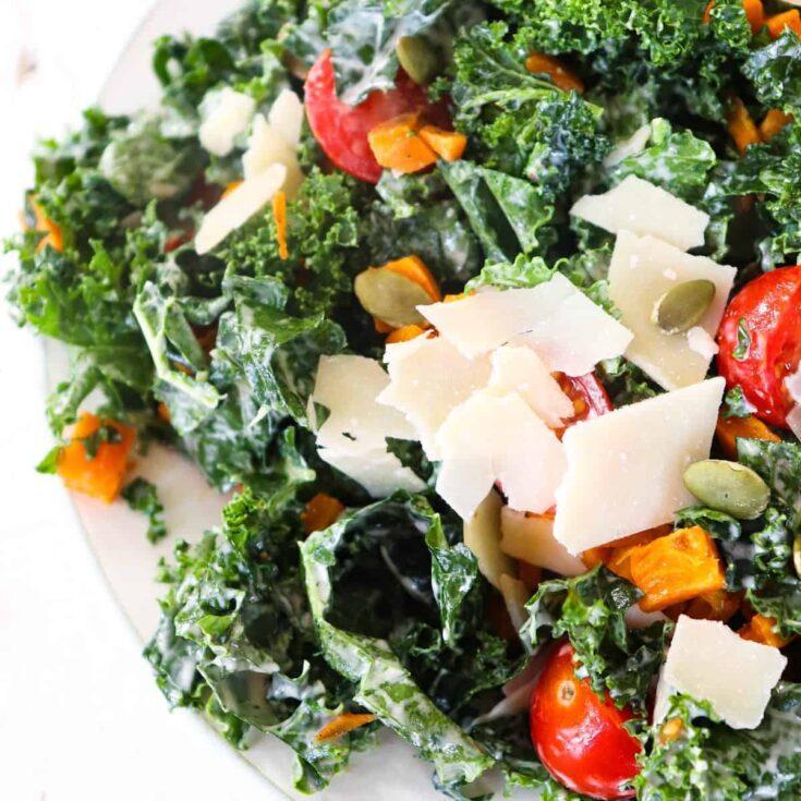 Roasted Sweet Potato and Kale Caesar Salad