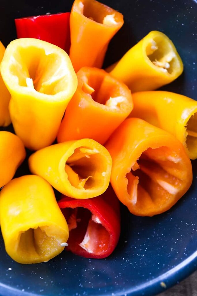 mini peppers with their tops cut off