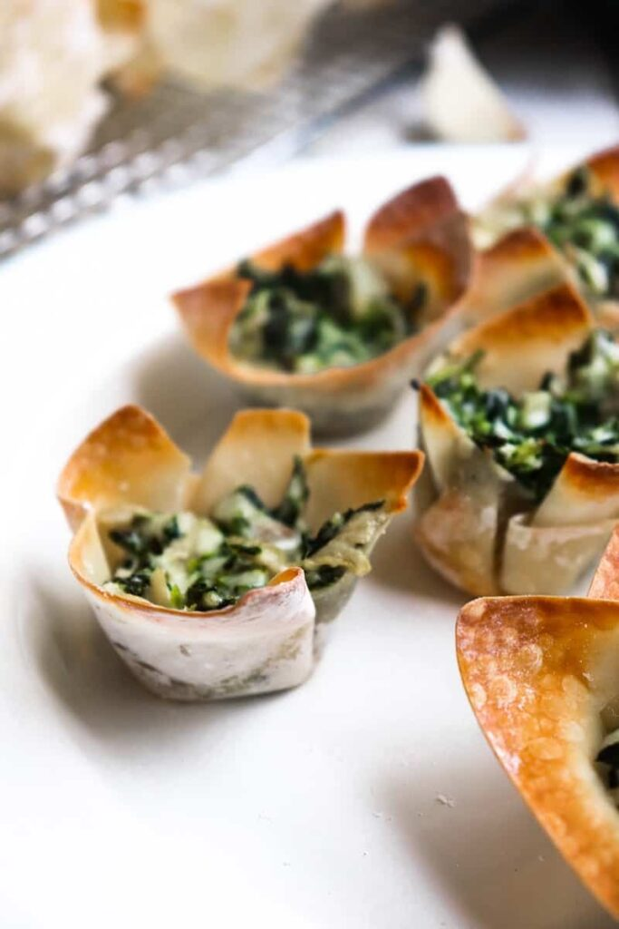 spinach dip bites on a plate