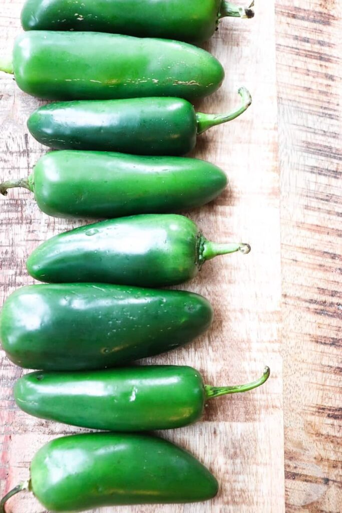 multiple jalapeno fruits lined up in a row